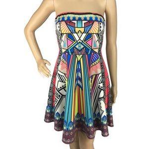 Flying Tomato Boho Aztec Strapless Mini Dress Med